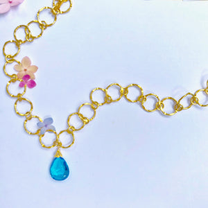 Sky Blue Topaz Gold Link Necklace