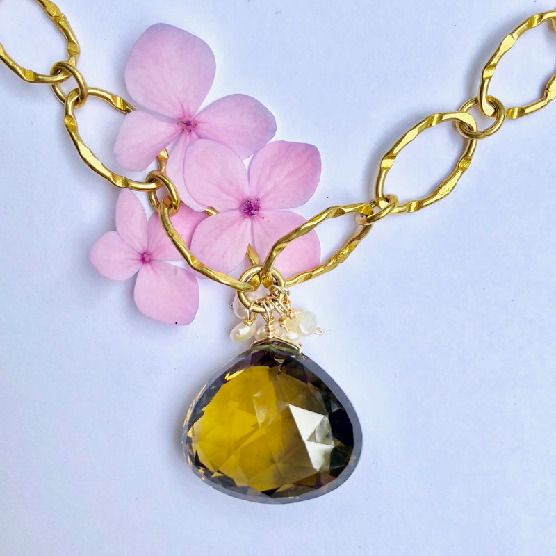 Lemon Topaz Gold Nugget Necklace