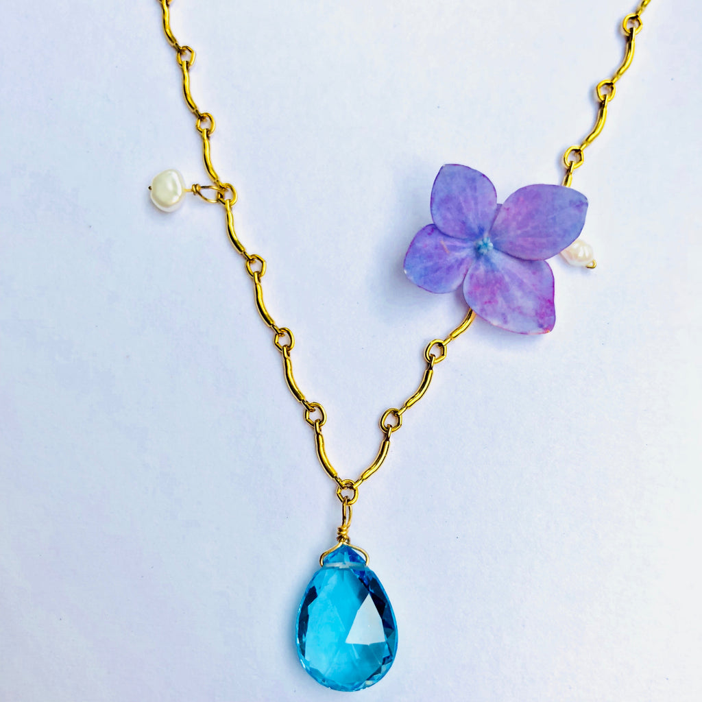 Blue Topaz and Pearl Gold Dot Necklace