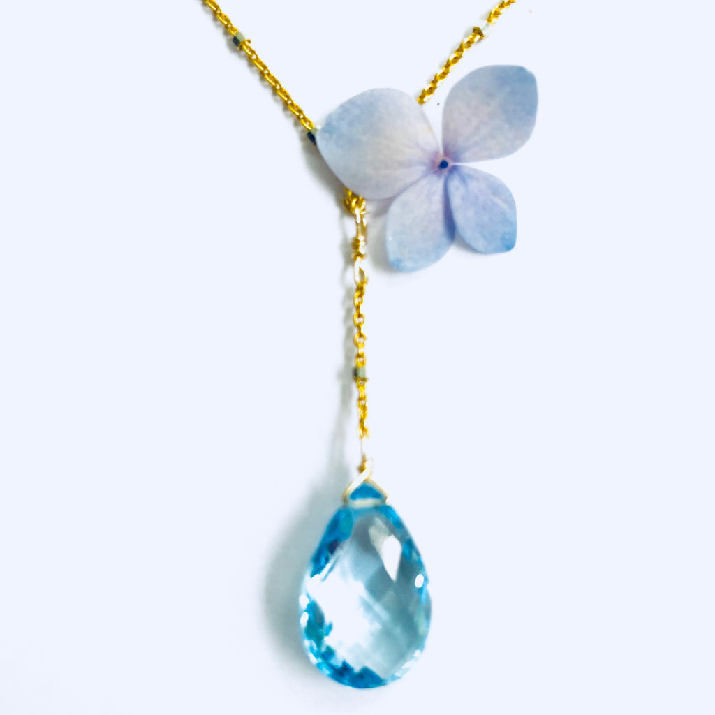 Blue Topaz Delicate Gold Y Necklace