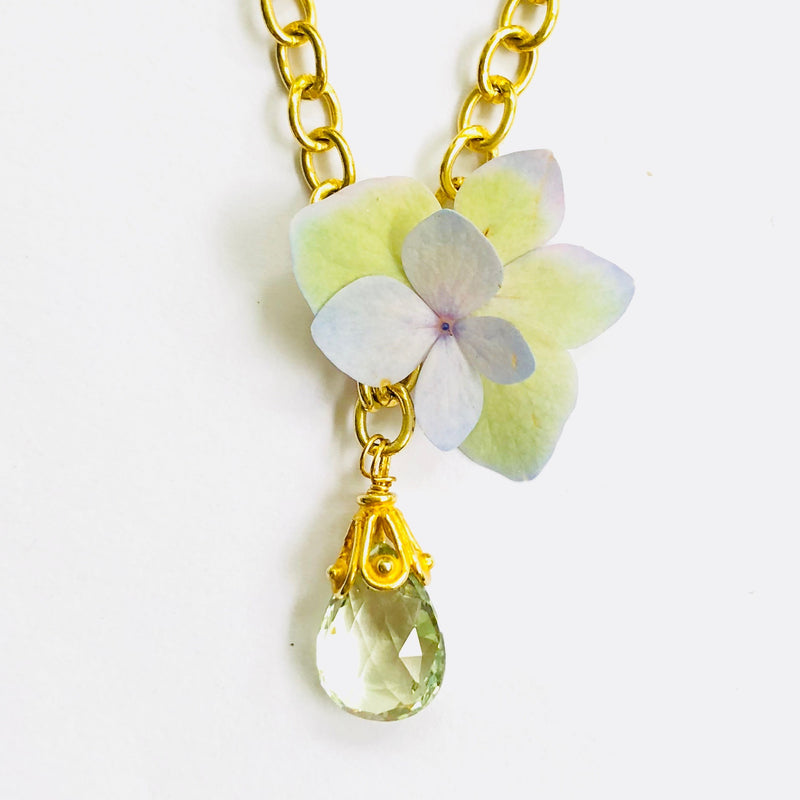 Green Amethyst Gold Link Chain Necklace