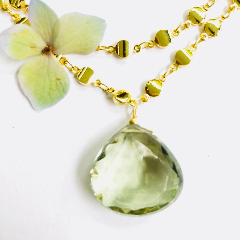 Green Amethyst Nugget Necklace