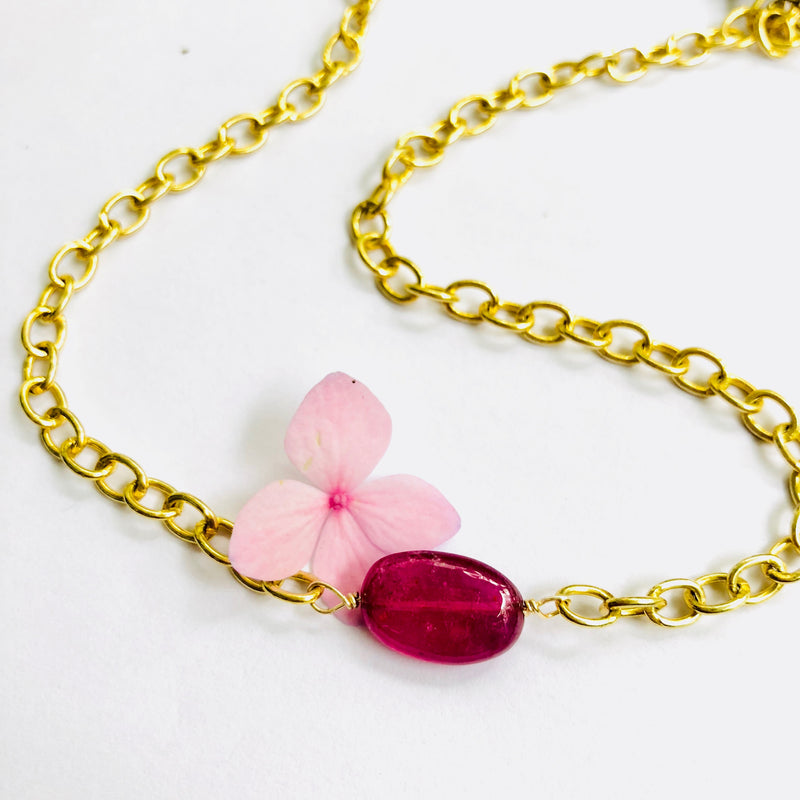 Rubylite Gold Chain Necklace/Choker
