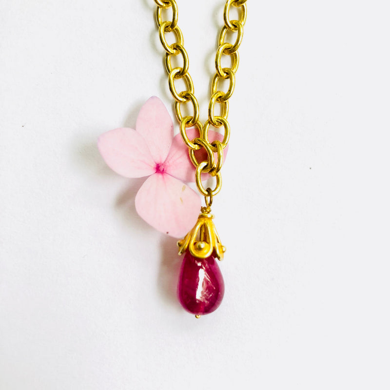 Rubylite Gold Link Chain Necklace