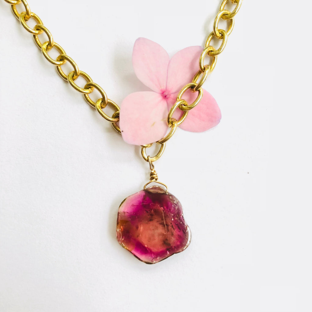 Sliced Pink Tourmaline Gold necklace