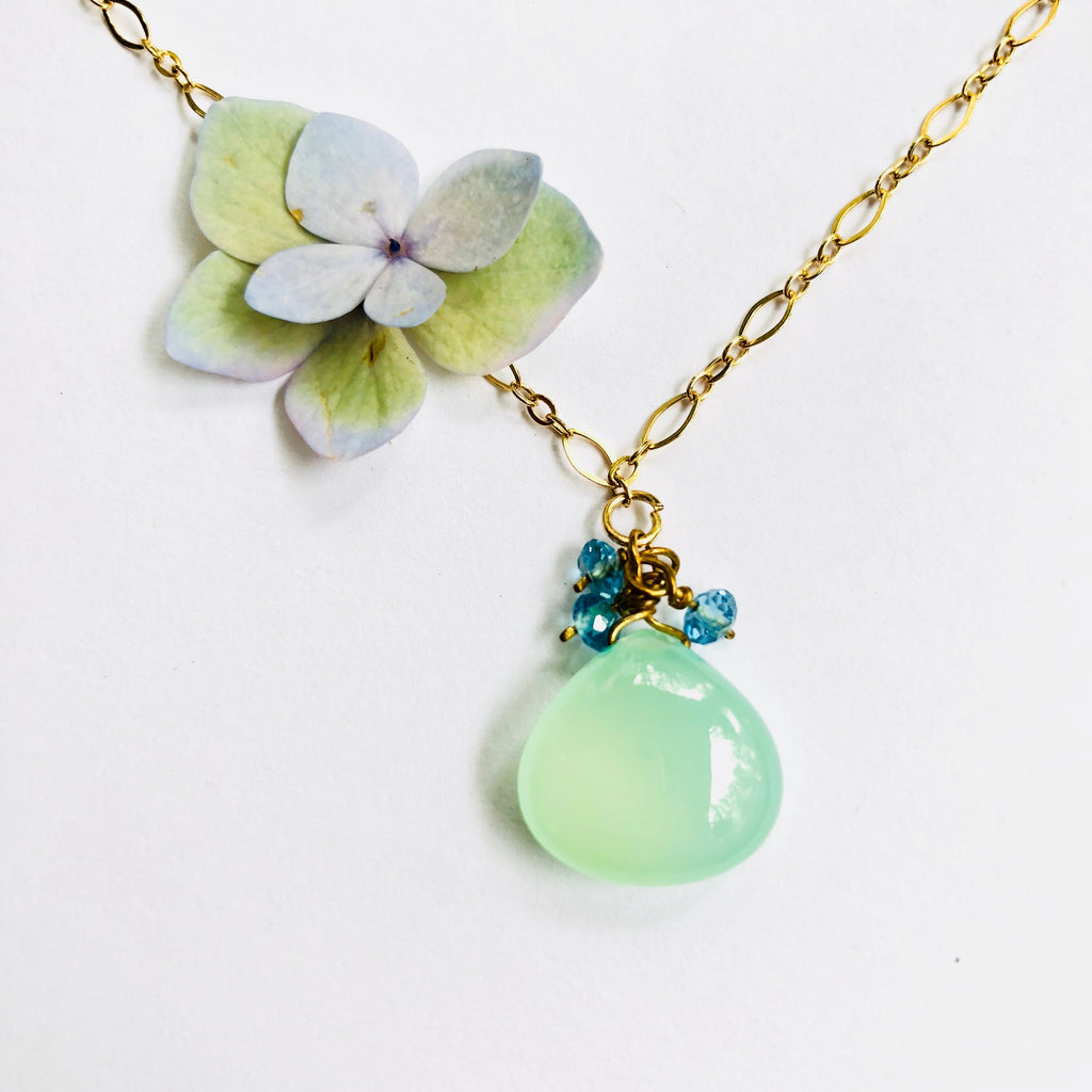 Chalcedoney With  Blue Topaz Gold Necklace