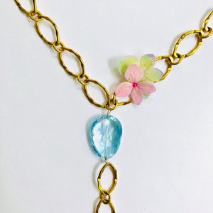 Blue Topaz Y Gold Link Chain Necklace