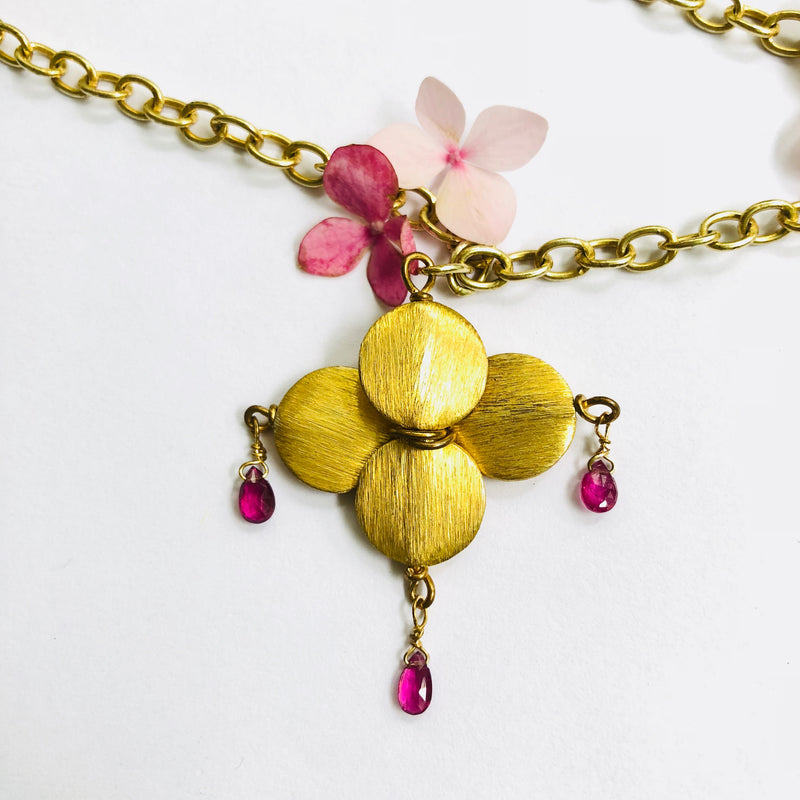 Pink Tourmaline Floral Gold Necklace