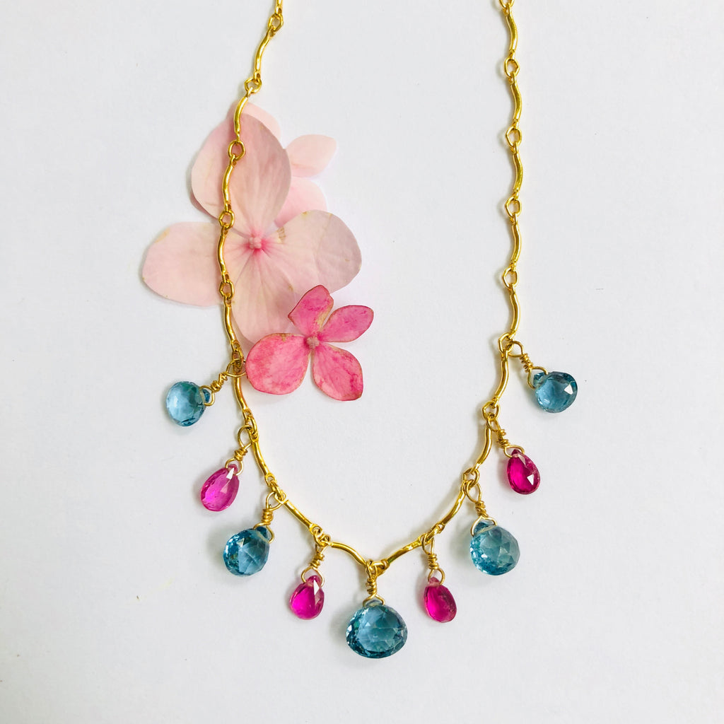 Blue Topaz/Pink Tourmaline Necklace