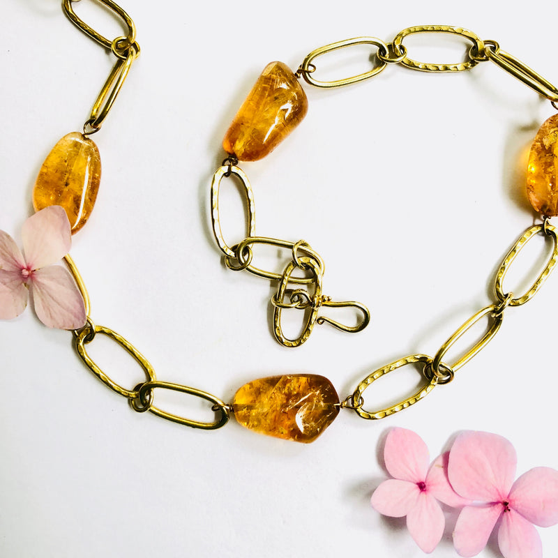 Citrine Nugget Gold Link Chain Necklace