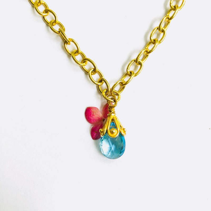 Blue Topaz Gold Link Chain Necklace