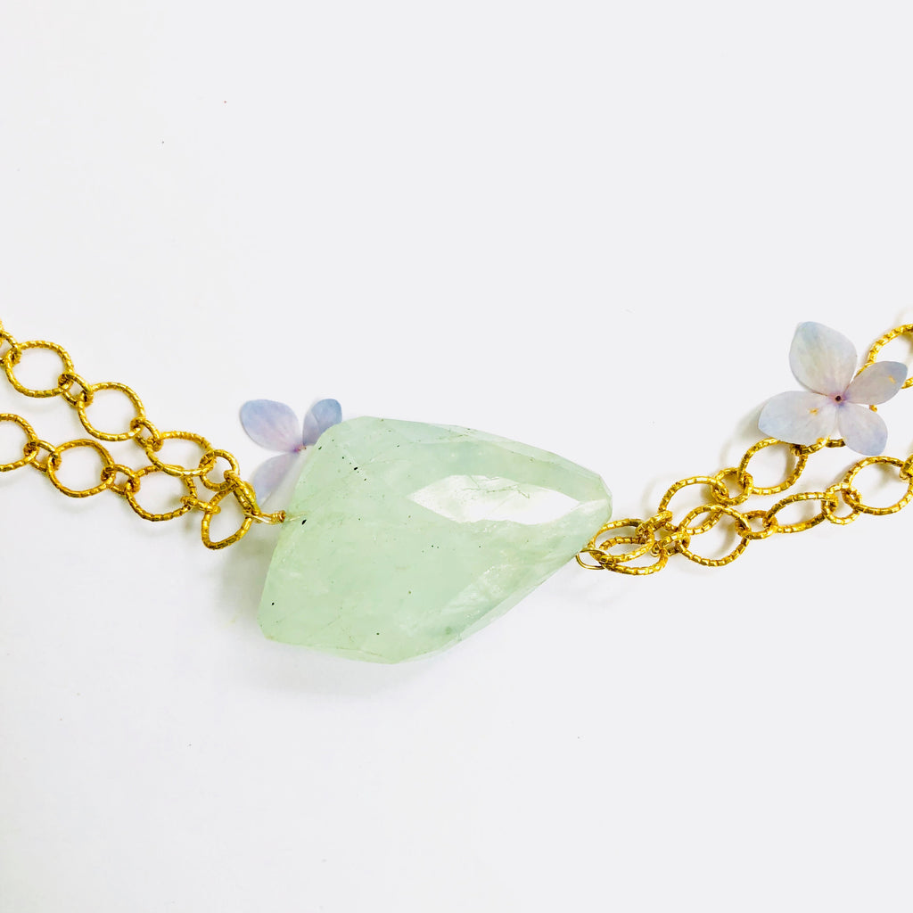 Aquamarine Nugget Double Gold Chain Necklace