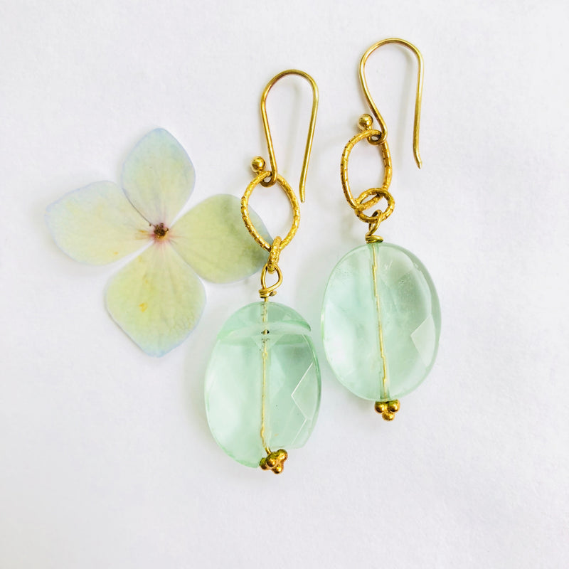 Green Flurite Gold Drop Earrings