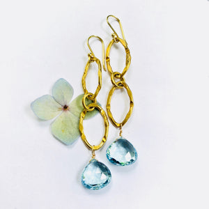 Blue Topaz Double Gold Link Chain Earring