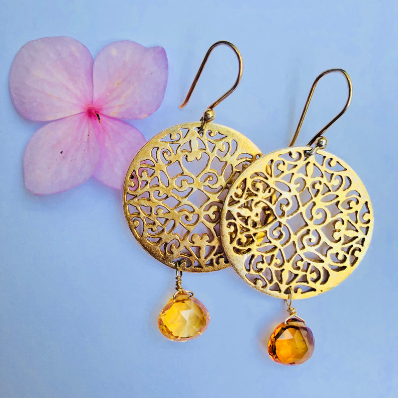 Citrine Filigree Gold Decor Earring