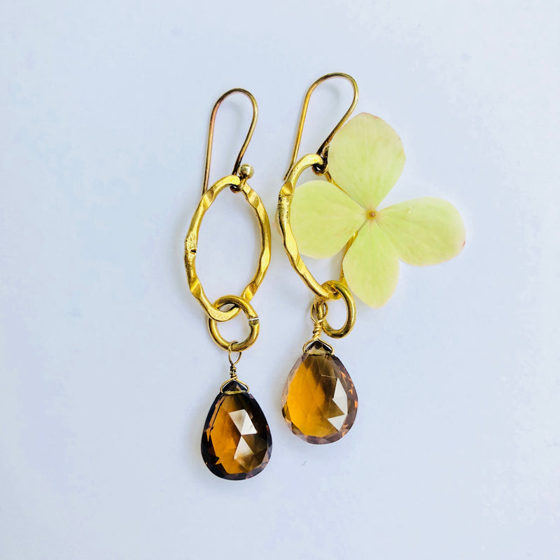 Smokey Topaz Link Gold Earring
