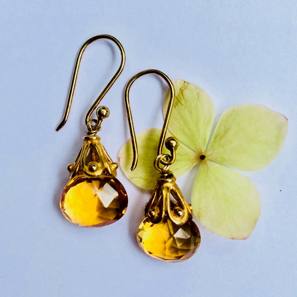 Citrine Faceted Gold Drop Earring