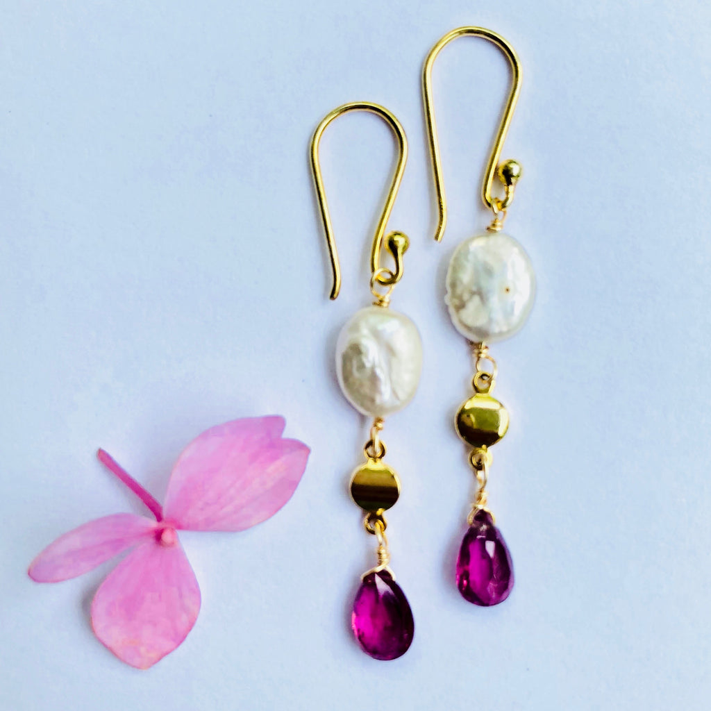 Pink Tourmaline And Pearl Gold Earring
