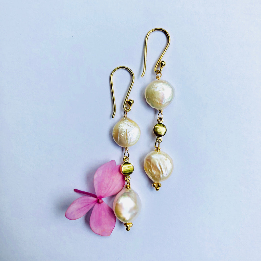Pearl Double Dotted Gold  Earring