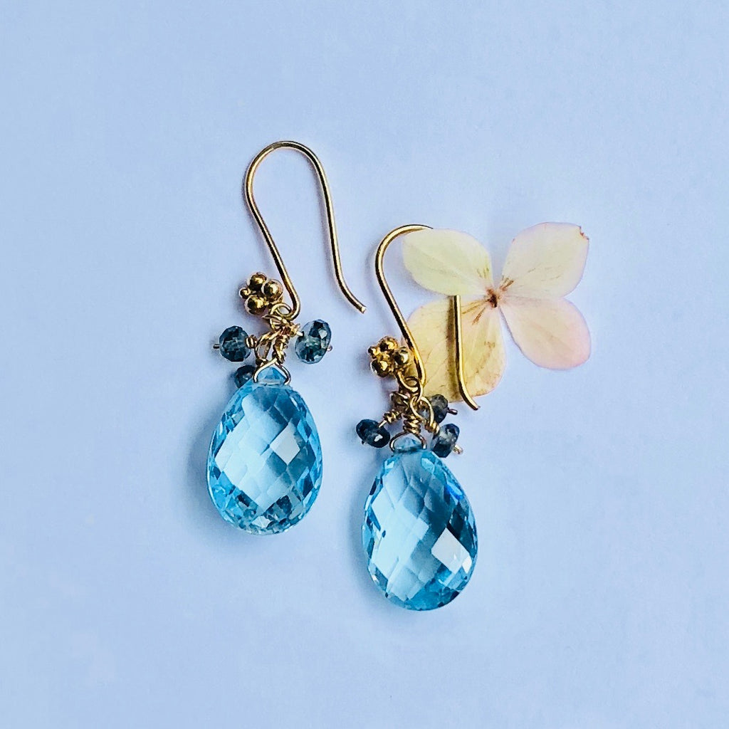 Blue Topaz with Green Sapphire Gold Earring