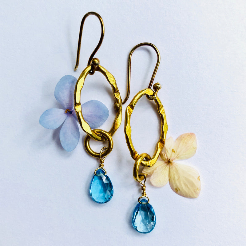 Blue Topaz Gold Link Chain Earring