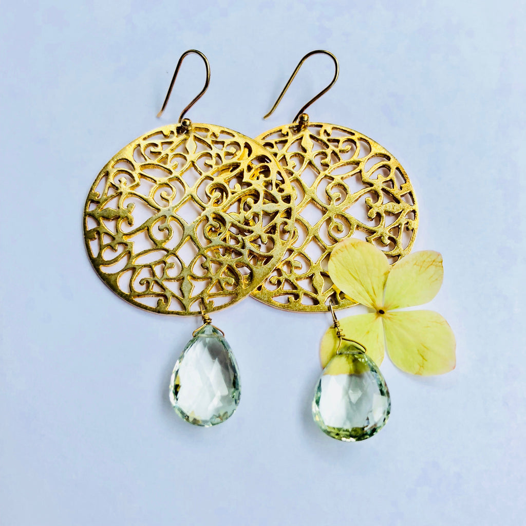 Green Amethyst Filigree Earring