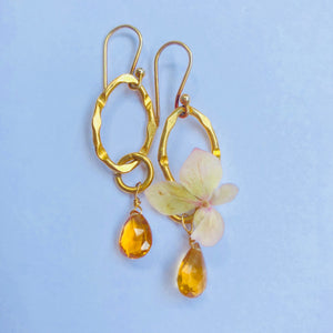 Citrine Drop Gold Link Chain Earring