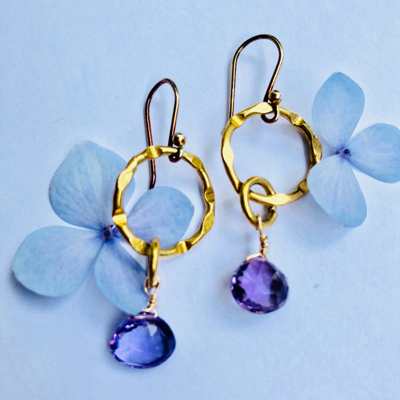Amethyst Gold Link Chain Earring