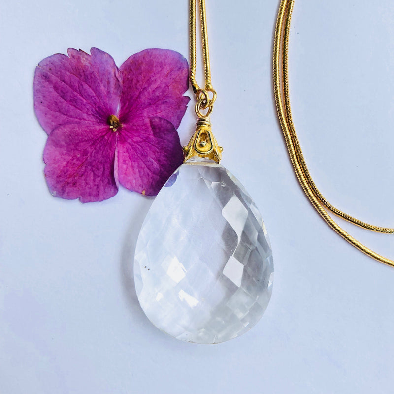 White Faceted Crystal Gold Necklace