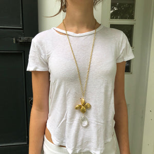 Floral Gold White Crystal Necklace