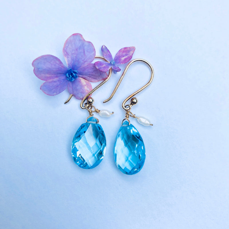 Blue Topaz and Pearl Gold Drop Earring