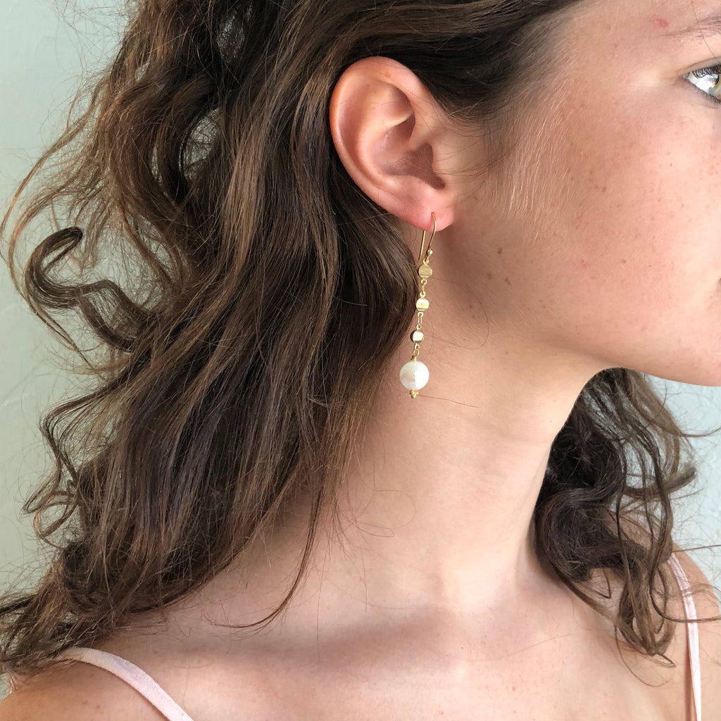 Pearl And Gold Dot Dangle  Earring
