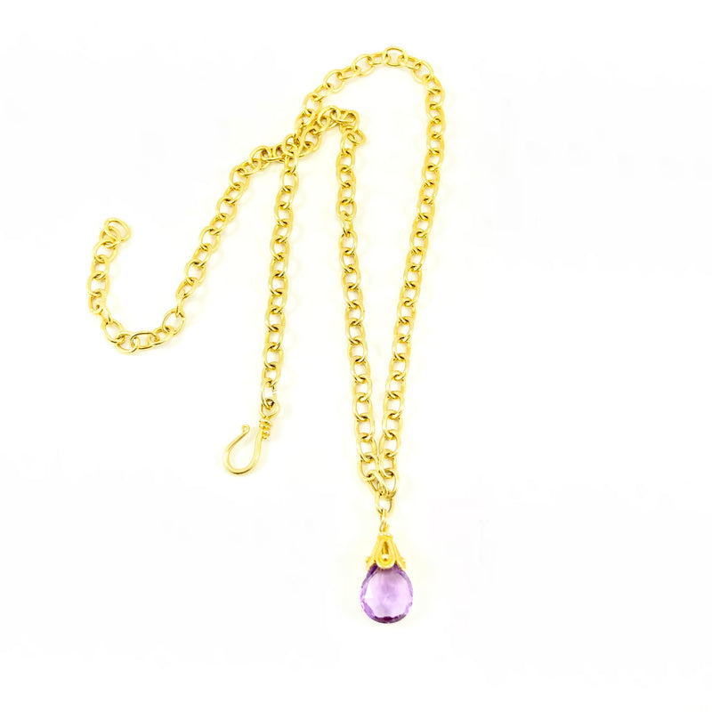 Amethyst Gold Link Chain Necklace