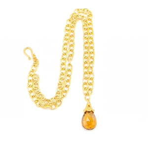 Citrine Gold Link Chain Necklace