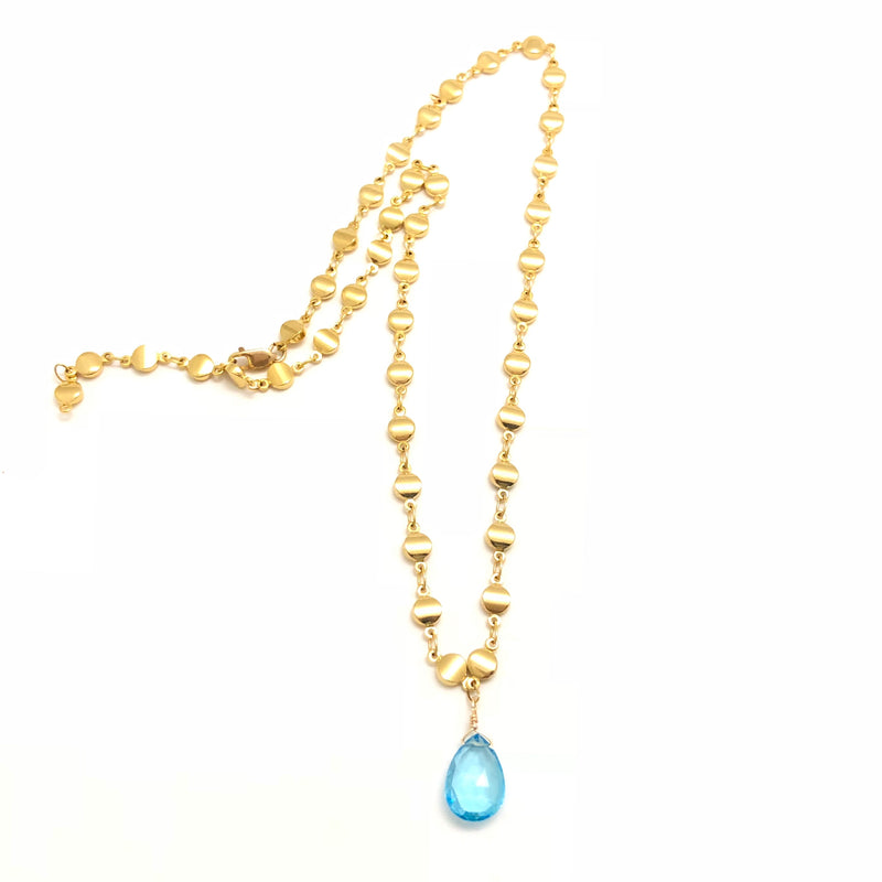 Blue Topaz Gold Dot Chain Necklace