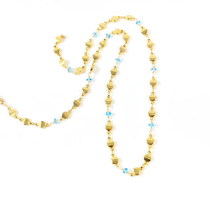 Blue Topaz Rondell Gold Dot Necklace