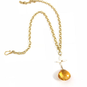 Citrine and Floral Pearl Gold Necklace