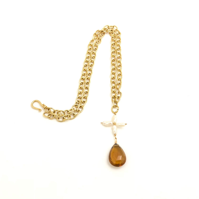 Pearl And Smokey Topaz Necklace