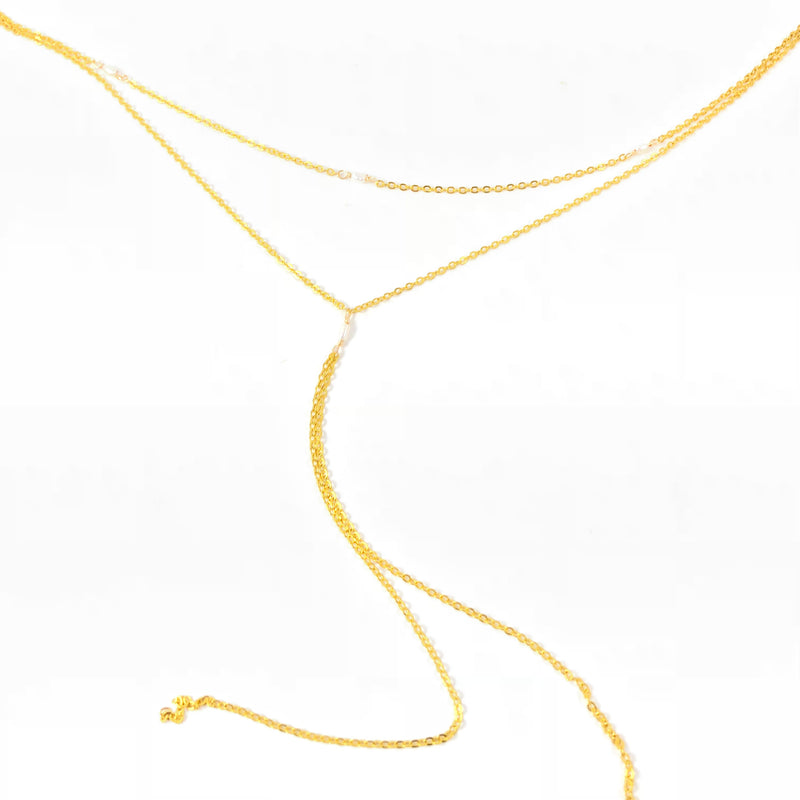 Pearl Double Gold Lariat Necklace