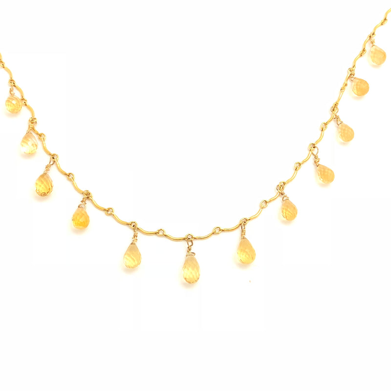 Faceted Citrine Gold Link Bar Necklace