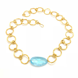 Blue Topaz Nugget Gold Link Necklace