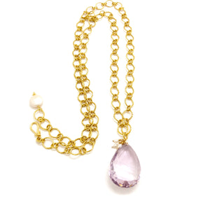 Purple Amethyst Gold Link Chain Necklace