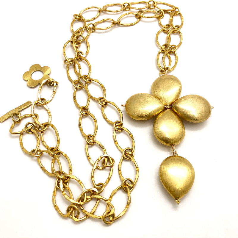 Large Floral Gold Nugget Link Necklace