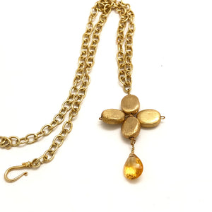 Floral  Citrine Necklace with Gold Link Chain