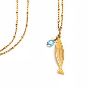 Gold Fish Necklace With Blue Topaz