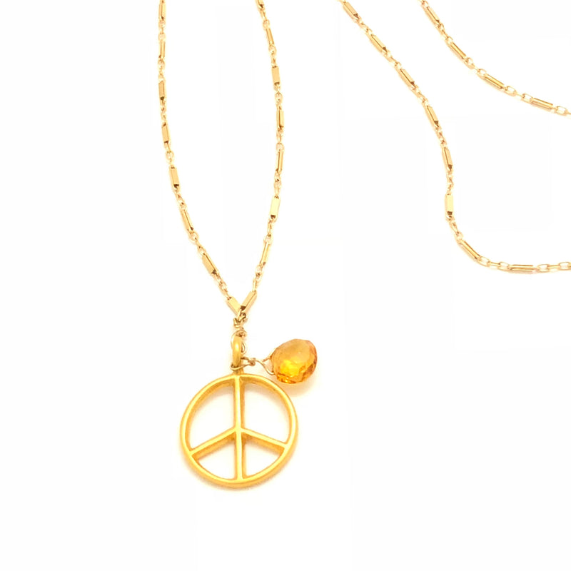 Peace Sign Citrine Gold Necklace