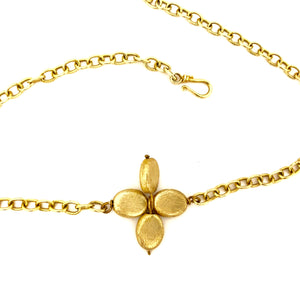 Floral Gold Link Chain Choker Necklace