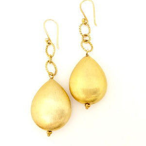 Large Gold Nugget Drop Earrings