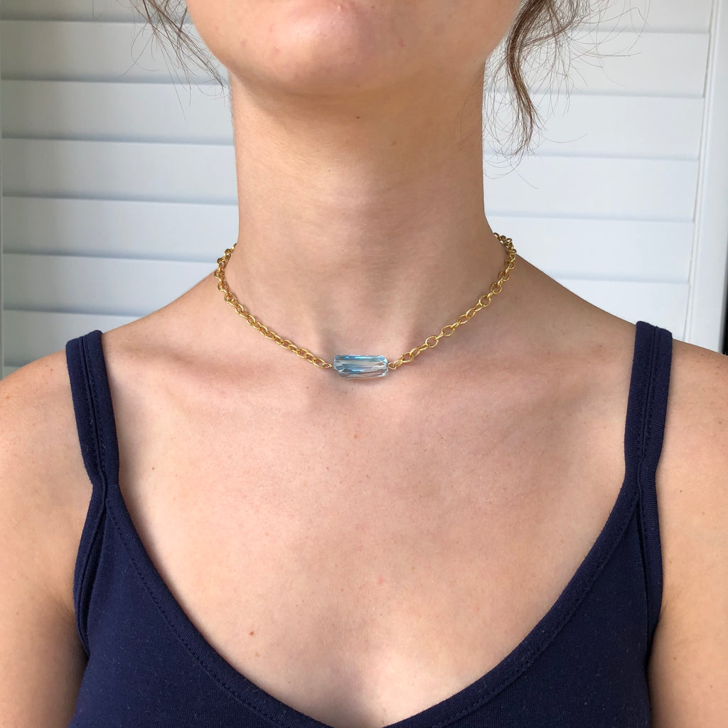 Light Blue Topaz Gold Chain Necklace