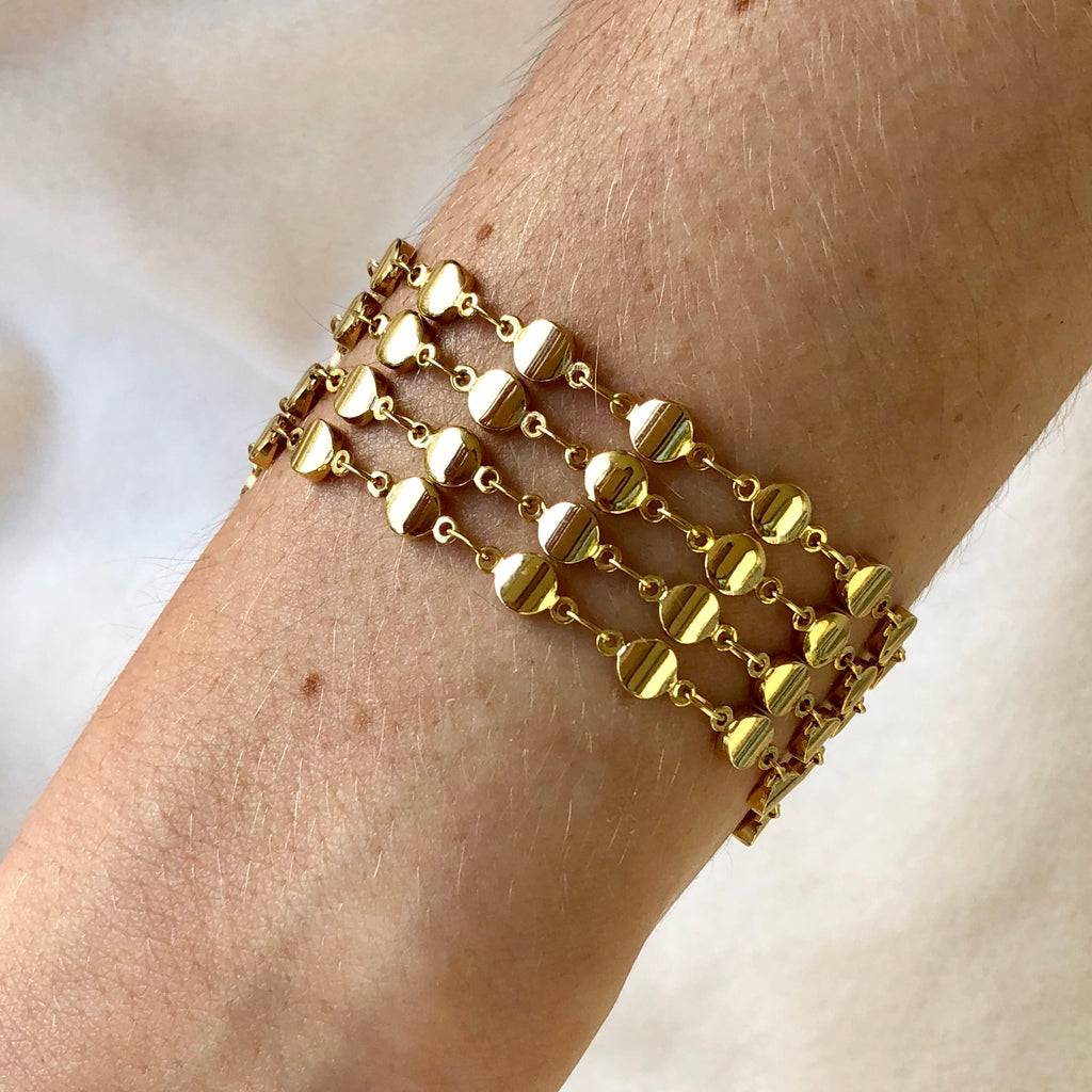 Gold Dotted Link Cuff Bracelet